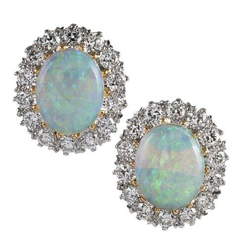 Oval Opal & Diamond Cluster Stud Earrings