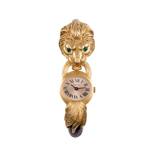 """French Carved Wood Lion's Head Watch, signed """"Bueche Girod"""""""
