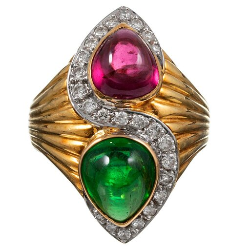 18k yellow gold ring with Pear Cabochon Green & Pink Tourmaline Ring with Diamonds
