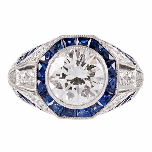 Art Deco Style 2.00 Carat  Diamond Ring With Sapphire & Diamond Trim