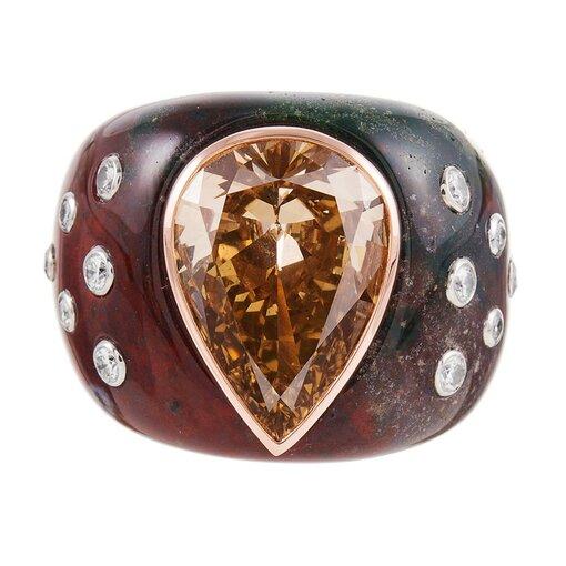 6.13 Fancy Brown-Yellow Pear Diamond in Custom Bloodstone Mounting