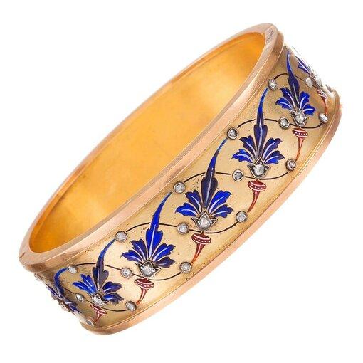 French Victorian Enamel & Diamond Bangle