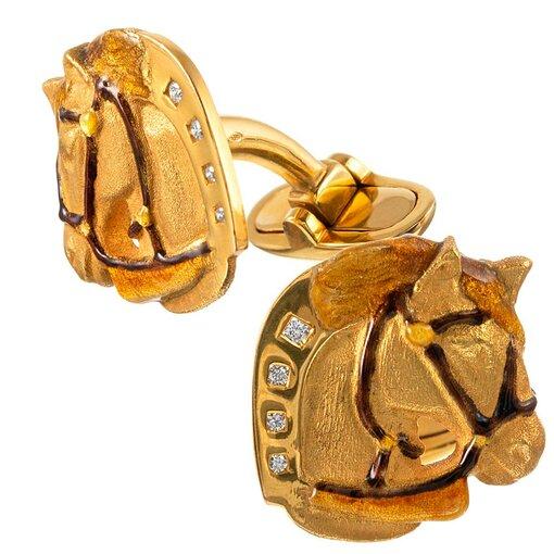 Masriera Enamel and Diamond Gold Horse Motif Cufflinks