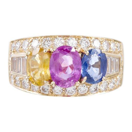 Bulgari Multicolored Sapphire and Diamond Ring