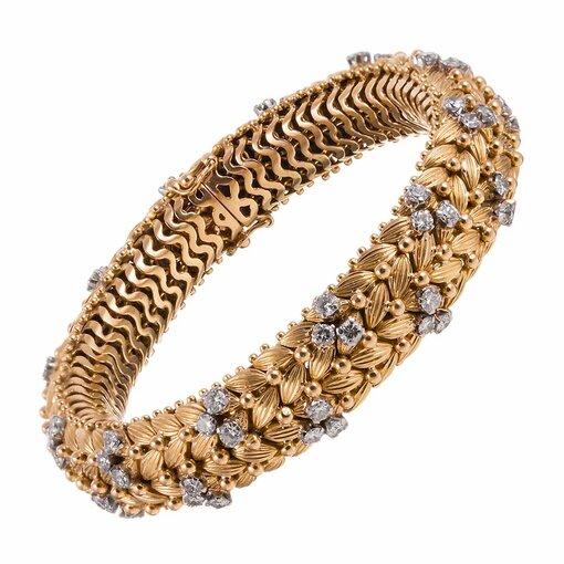 Woven Gold & Diamond Bracelet, c1960