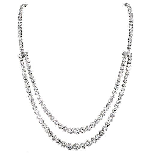 20.08 Carat Double Strand Diamond Riviera Necklace
