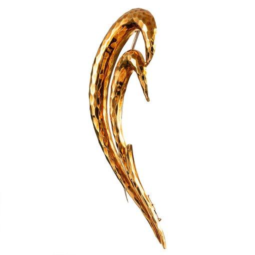 Hammered Golden Brooch, Signed Henry Dunay