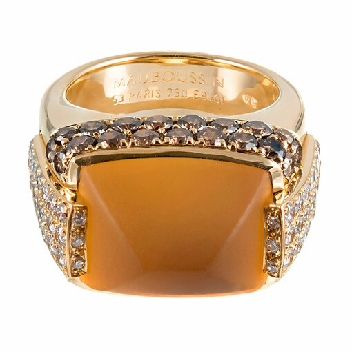 """Sugarloaf Citrine Ring with Brown 7 White Diamonds, signed """"Maboussin"""""""