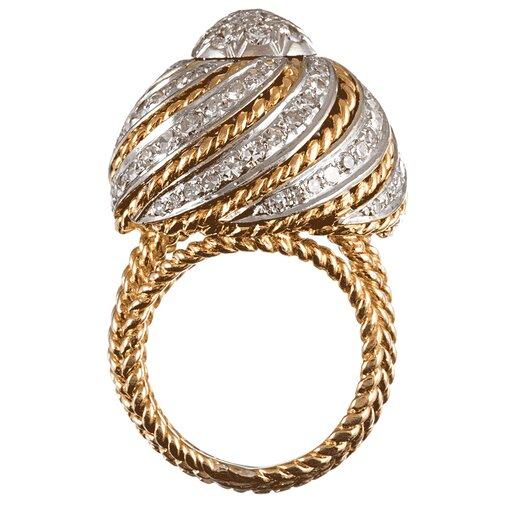 Mid-Century Diamond Swirl Cocktail Ring