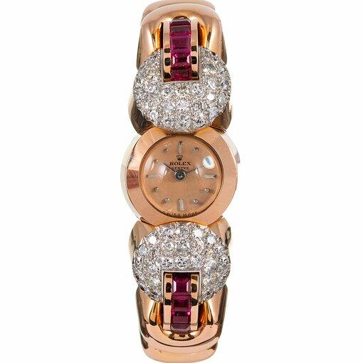 PRE-OWNED VINTAGE ROLEX LADY'S RETRO DIAMOND AND BRACELET WATCH