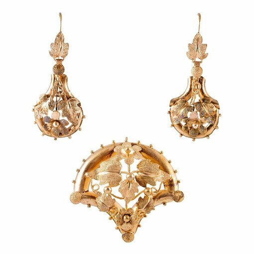 """Garden Motif"" Victorian Earrings and Pin/Pendant Suite"