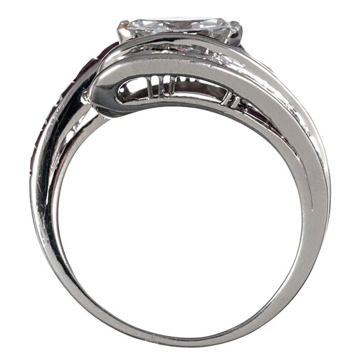 Oscar Heyman Retro Style Ruby and Diamond Ring