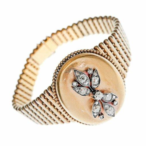 Victorian Diamond Gold Locket Bracelet