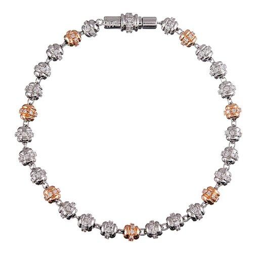 """White and Rose Gold Diamond Orb Bracelet, signed """"Favaro"""""""