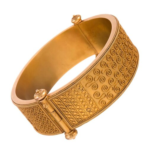 Stunning Etruscan Double-Sided Bangle Bracelet