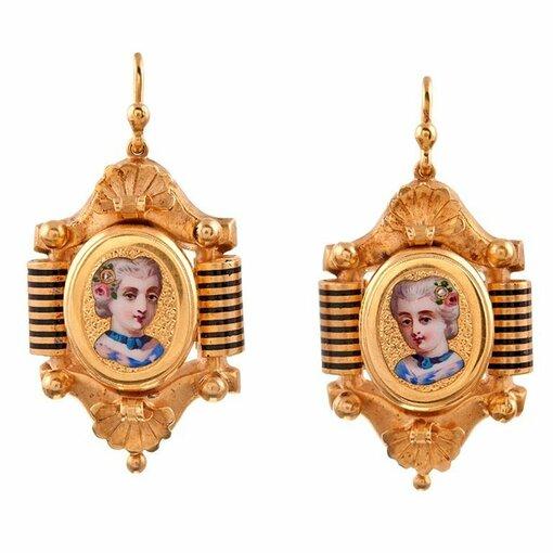 Victorian Enamel Miniature Portrait Earrings