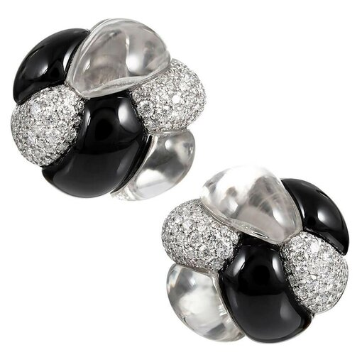 """""""Knot"""" Earrings With Rock Crystal, Diamonds & Onyx, Signed Seaman Schepps"""