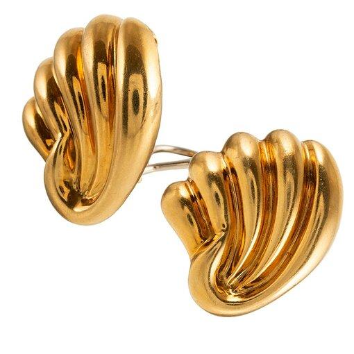 Mid-Century Golden Shell Motif Earrings