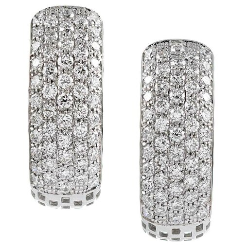 Pave Diamond Hoop Earrings, Signed Simon G.
