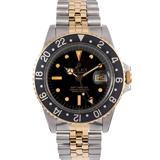 PRE-OWNED VINTAGE ROLEX STAINLESS STEEL 18K YELLOW GOLD GMT REF. #1675