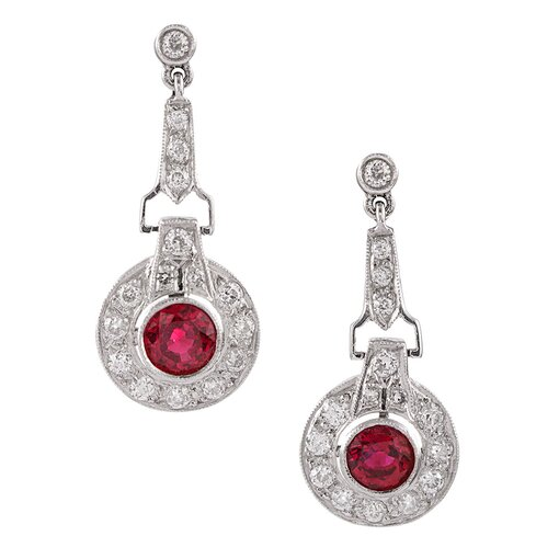 Ruby and Diamond White Gold Drop Earrings