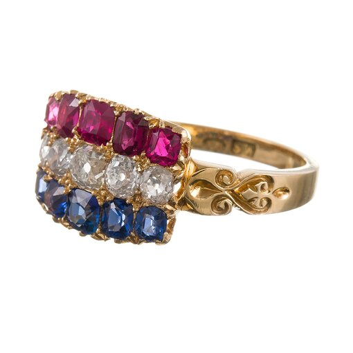 Sapphires, Diamonds and Rubies Antique Americana Ring