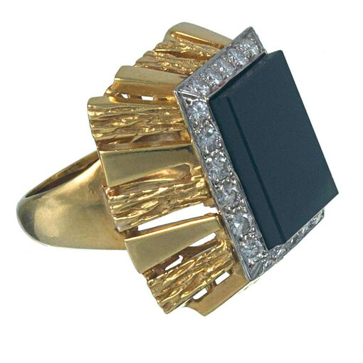 Brutalist Cocktail Ring with Interchangeable Stone Tops
