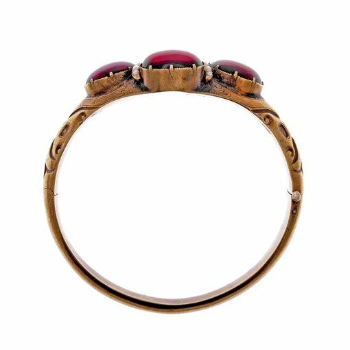 Victorian Cabochon Garnet & Pearl Cuff Bracelet