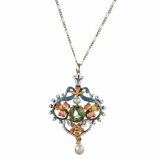Art Nouveau Pendant with Peridot, Enamel & Pearl