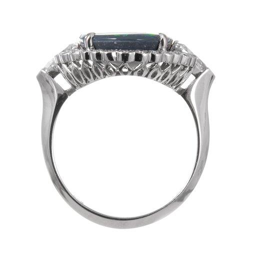 Important 7.50 Carat Lightning Ridge Opal Diamond Cluster Ring