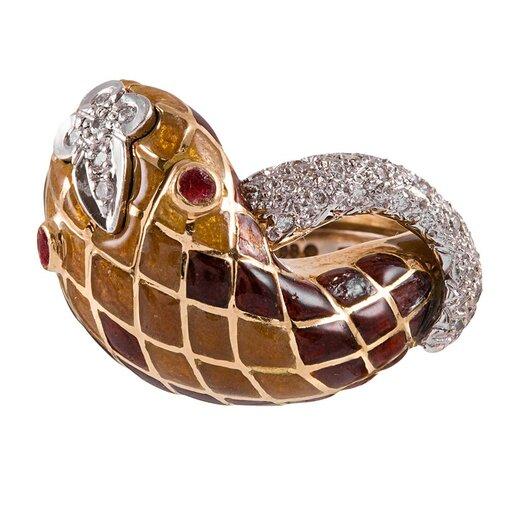 Enamel & Diamond Snake Ring, signed Webb