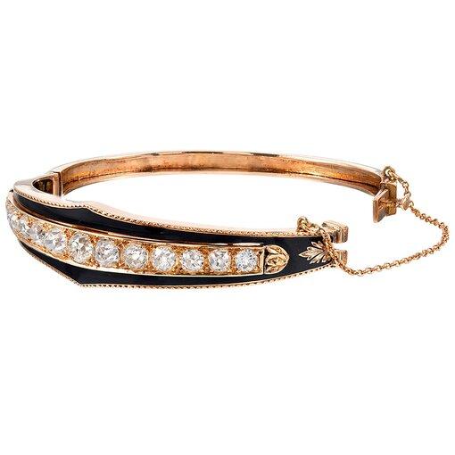 Old European Cut Diamond & Black Enamel Bangle Bracelet