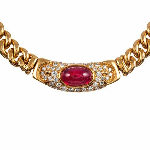 "Cabochon Ruby & Diamond Necklace, signed ""Bulgari"""