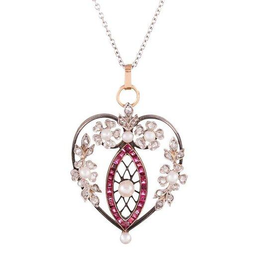 Heart-Shaped Edwardian Ruby, Diamond & Pearl Pendant