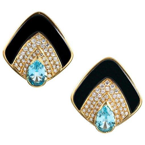 Diamond, Blue Topaz, & Onyx Earrings