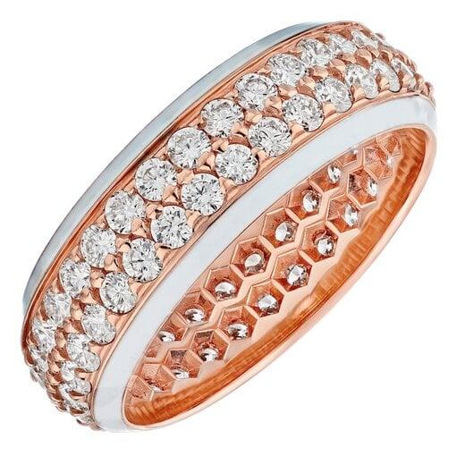 18k Rose Gold Diamond & Enamel Band
