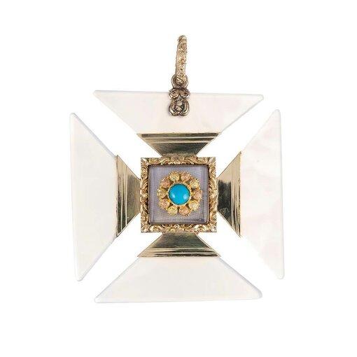 Large Georgian Chalcedony Maltese Cross Pendant
