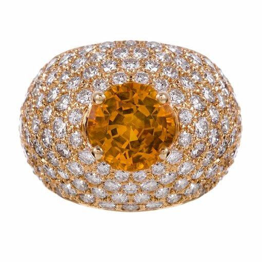 Yellow Sapphire & Diamond Dome Ring
