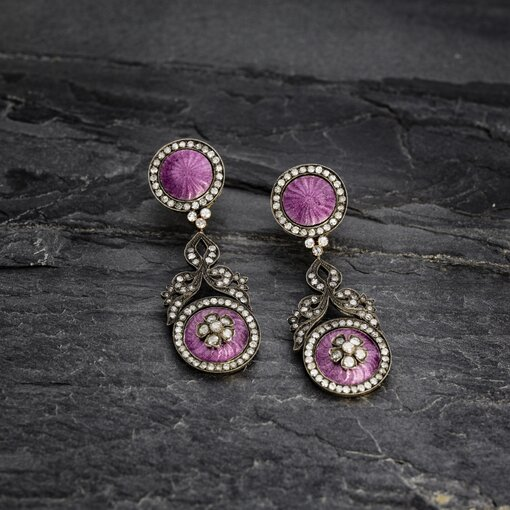 Edwardian Earrings with Rose Cut Diamonds and Lavender Enamel