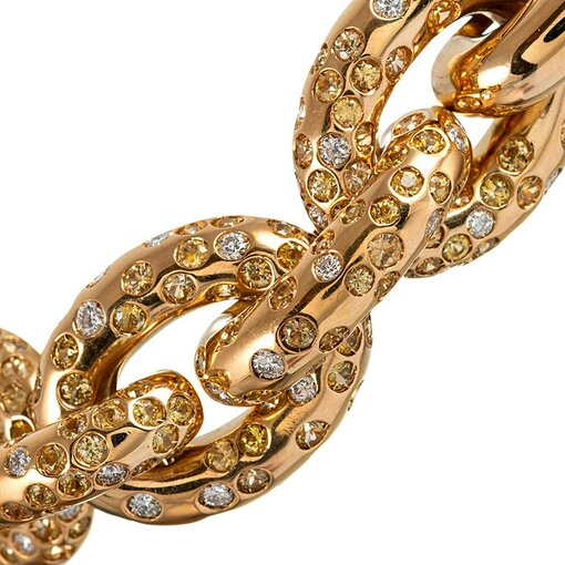 Yellow Sapphire & White Diamond Set Link Bracelet, signed Cantamesa