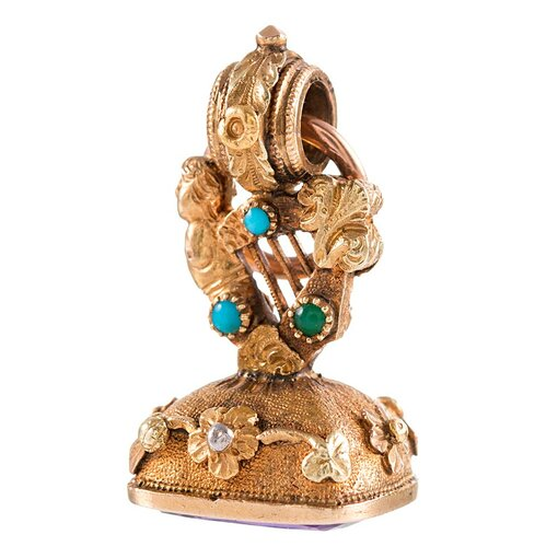 Victorian harp motif seal in 18k yellow gold and turquoise
