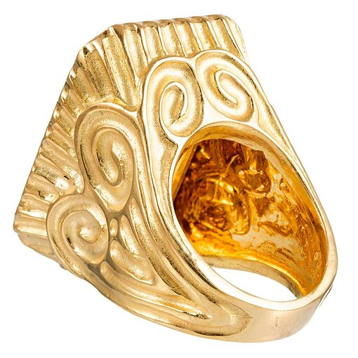 49.64 Carat Citrine and Carved Gold Ring