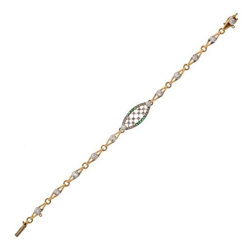 Edwardian Diamond Emerald Bracelet c1910