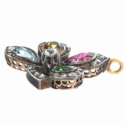 Victorian Gemstone & Diamond Four-Leaf Clover Locket