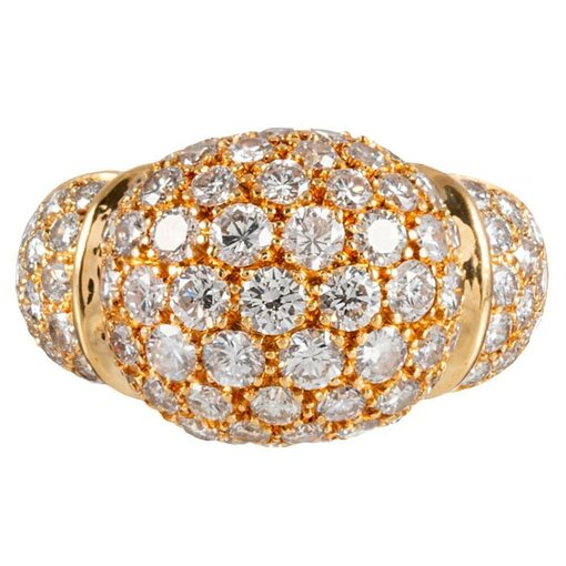 18k Yellow Gold Diamond Ring, Signed Cartier