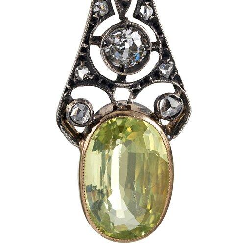 Yellow Gold & Silver Chrysoberyl Drop Earrings With Diamonds