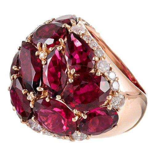 20 Carat Rubellite & Diamond Dome Ring