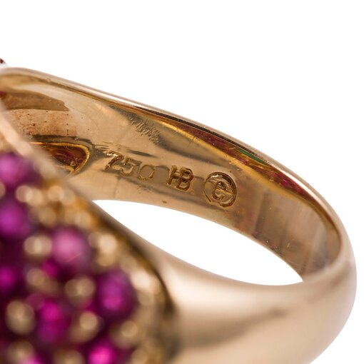 Hammerman Bros. 1.20 Carat Cabochon Emerald Ruby Diamond Gold Ring