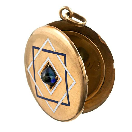 Victorian Cabochon Sapphire & Enamel Locket