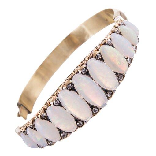 Extra Large Victorian 30 Carat Opal & Diamond English Carved Bangle Bracelet